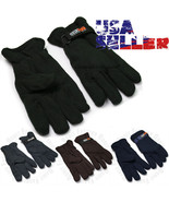 Mens Fleece Gloves Winter Warm Snow Insulated Thermal Mitten Velcro One ... - $7.99