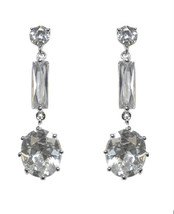 ZirconZ-OVAL ROUND & BAGUETTE CLEAR CUBIC ZIRCONIA DANGLE EARRINGS 40MM - $24.74