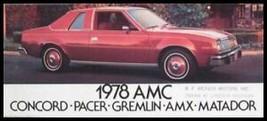 1978 American Motors AMC Car Sales Brochure AMX Pacer Gremlin - $6.09