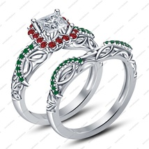 Rhodium Over .925 Sliver Round Cut CZ Princess Engagement Bridal Ring Set - $73.09