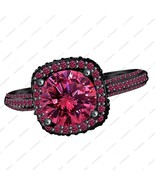 Pink Sapphire Black Gold Plated 925 Silver Engagement Solitaire With Accent Ring - £73.83 GBP
