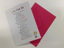 Let Fun In - Cute Motivational & Encouragement Luxury Greetings Card, 5x... - $4.21