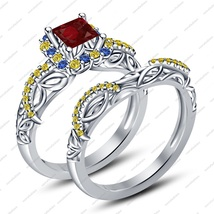 White Gold Plated 925 Sliver Multi Color CZ Disney Princess Snow White Ring Set - $87.88