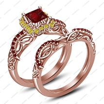 Rose Gold Over 925 Sliver Red Garnet Princess Bridal Engagement Ring Set - $73.09