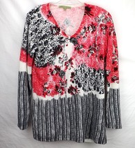 Carolyn Taylor Pullover Top 100% Acrylic Long Sleeve Multi Floral Sequin... - $14.24