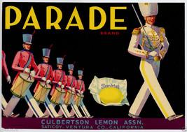 Vintage Parade Brand Lemons California Fruit Crate Label Culbertson Lemon 1920 - $19.95