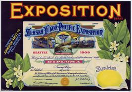 Vintage Alaska Yukon Pacific Exposition Brand Lemon Calif Fruit Crate Label 1912 - $19.95