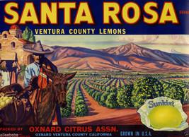 Original 1927 Santa Rosa Brand Lemons Oxnard Ca Ventura Lemon Fruit Crate Label - $19.95