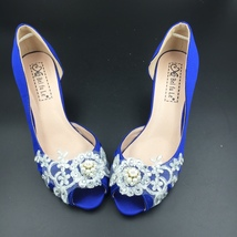 Low Heels Royalblue Lace Wedding Shoes/Blue Bridals Heels/Evening Party ... - $68.00