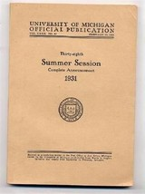 1931 University of Michigan Summer Session Catalog Official Publication - $24.35