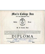 Guzzling Diploma from Mac's College Inn Dallas Texas 1952 - $39.70