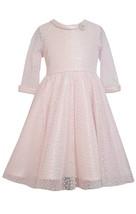 Bonnie Jean Little Girls 2T-6X Pink 3/4-Sleeve Flock Dot Mesh Fit Flare Dress