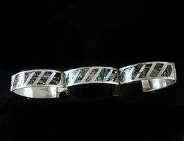 GORGEOUS Indian Bracelet hinged sterling signed Cuff mosaic Abalone silv... - $65.00