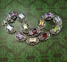 Stunning Amethyst bracelet Multi gemstones citrine peridot blue topaz Ga... - $155.00