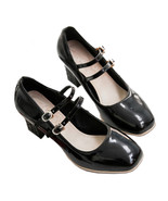 High Heel Double Buckle Women Shoes Plus Size  black - $45.99