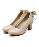 High Heel Low-cut Bowknot Work Shoes Plus Size  beige - $42.99