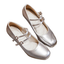 High Heel Double Buckle Women Shoes Plus Size  silver - $45.99
