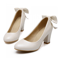 High Heel Low-cut Bowknot Work Shoes Plus Size  white - $42.99