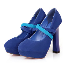 High Thick Heel Shoes Slim Night Club Platform Fluff Women Thin Shoes  blue - $41.99