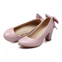 High Heel Low-cut Bowknot Work Shoes Plus Size  pink - $42.99