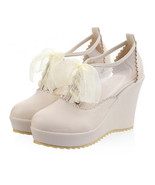 Candy Color Lace-up High Platform Thick Sole Thin Shoes Plus Size  beige - $42.99