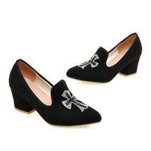 Middle Heel Thin Shoes Fluff Pointed Low Uppers Casual  black - $43.99
