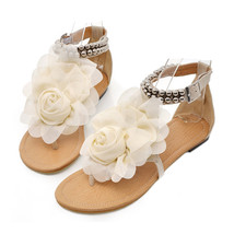 Flat Heel Flower Sandals Various Size Women Shoes  beige - $29.99