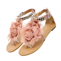 Flat Heel Flower Sandals Various Size Women Shoes   pink - $29.99