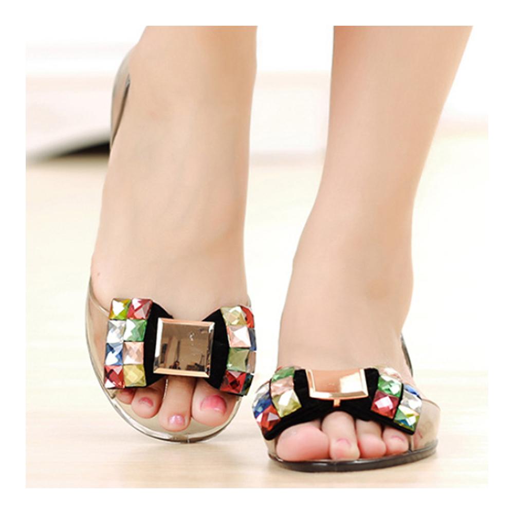 Chromatic Rhinestone Beads Bowknot Transparent Jelly Shoes Sandals Beach black