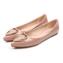 Ox Horn Metal Pointed Low-cut Women Thin Shoes  pink - $35.99