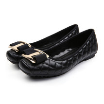 Metal Square Button Bowknot Flat Thin Shoes   black - $35.99