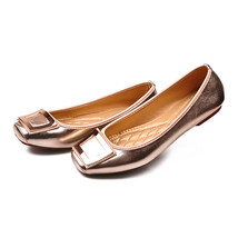 Metal Square Button Flat Thin Shoes Women Plus Size Work  golden - $34.99