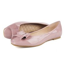 Square Bowknot Increased within Flat Thin Shoes  pink - $40.99