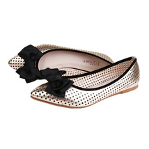 Casual Bowknot Flat Thin Shoes Hollow Low-cut Pointed   golden - $35.99