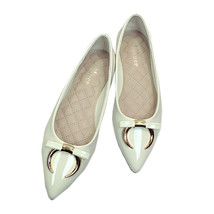 Ox Horn Metal Bowknot Pointed Low-cut Flat Thin Shoes  white - $33.99