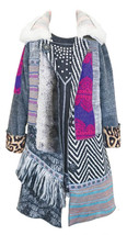 Big Girls Tween Patchwork Duster Coat With Faux Fur, Hannah Banana, Grey, 7