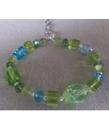 "Womens Artisan Beaded Memory Wire Bracelet  6 1/2"" - 7 1/2"" Turquoise/Gr... - $9.00"