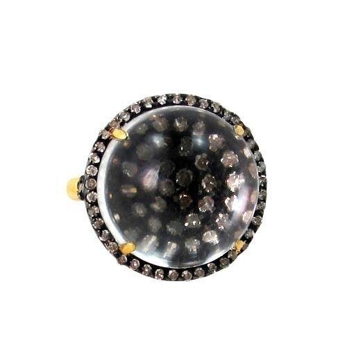 Diamond Studded 925 Silver Crystal Quartz Gemstone Cluster Ring 14k Gold Jewelry - $1,106.45
