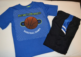 New Balance Boys 2 Piece Short Set SIZE 4, 5 /6 NWT Blue Black Basketbal... - $17.24