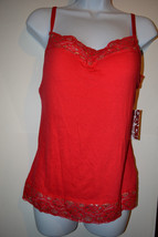 Womens JUNIORS Bongo Red & Gold LaceTank Top W Built in Bra Size L  NWT - $8.39