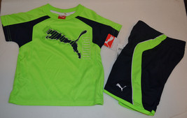 Puma Boys Toddler 2 Pcs Short Outfit  Size 2 T Nwt Green - $18.74