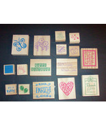 Lot of Assorted 16 Wood Mounted Rubber Stamps All Different New - $9.89