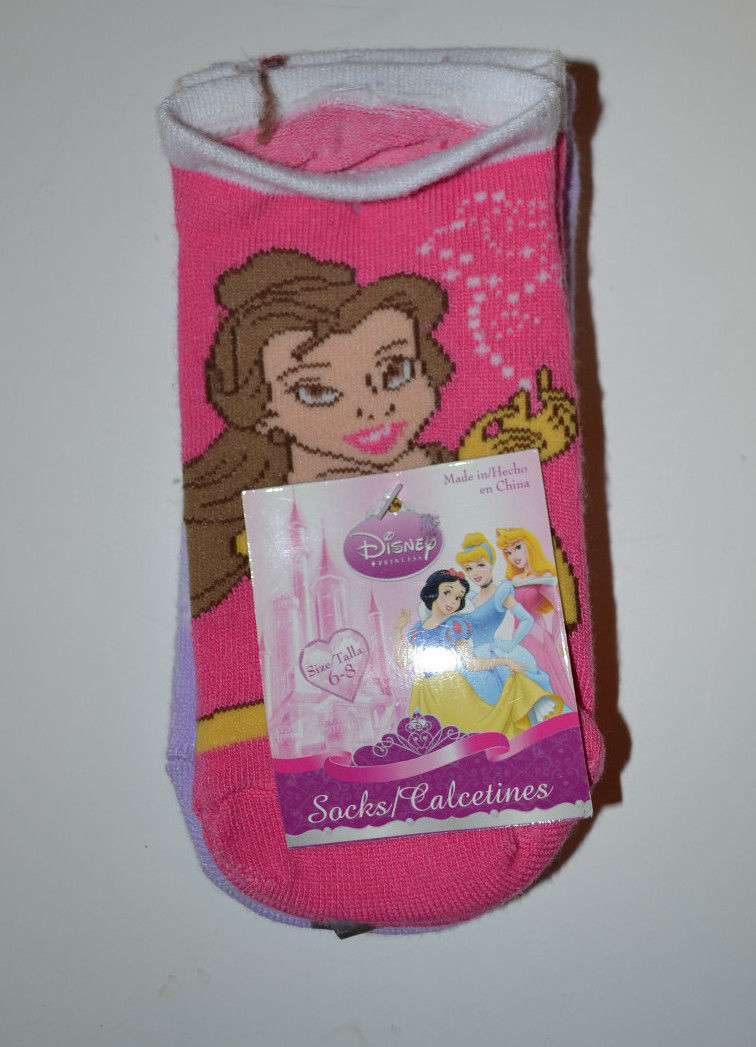 Disney Girls Cushion  Crew Socks  Shoe Size 6-8 (3) Pack NWT