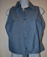 Womens JUNIORS Bongo Chambray  W Lacy  Back Top Size L NWT Jean Look  - $11.19