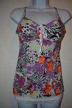Womens JUNIORS Bongo Animal Print &  LaceTank Top W Built in Bra Size M ... - $10.49