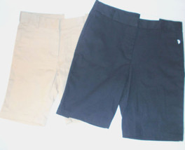 IZOD Girls School Uniform Bermuda Shorts Beige or Navy Blue Various Size... - $11.24