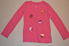 Faded Glory  Girls Longsleeve Shirt  Size M 7/8 Nwt Pink Polka Dot Shimmer - $7.49