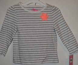 Circo Girls Infant Toddler Top Long  Sleeve Size 18M  NWT  Flower Gray Stripe - $4.79