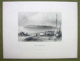CANADA Navy Island from Canadian Side Settlers - 1880s Antique Print Eng... - $17.82