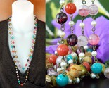 Vintage glass beads pearls flapper necklace multi color long strand thumb155 crop